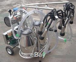 Oil-free Vacuum Pump Milker for Cows + Goats Double Tank