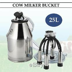 Portable Cow Milking Equipment Cow Milker Stainless Steel Milk Bucket L80 US