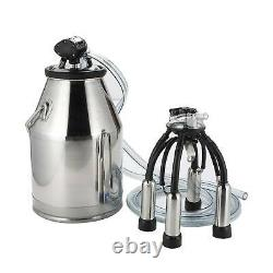 Portable Cow Sheep Milker Stainless Steel Milking Bucket Tank Barrel 25L/6.6Gal