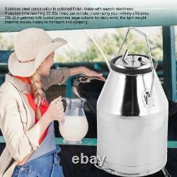 Portable Dairy Cow Milker Milking Machine 25L Bucket Tank Barrel Stainless Steel