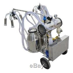 Portable Double Buckets Milking Machine Electric Vacuum Pump Cows Farm CE Great