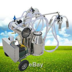 Portable Double Tank Milker Electric Milking Machine Vacuum Pump For Cow Cattle