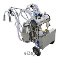 Portable Double Tank Milker Electric Vacuum Pump Milking Machine Cows Farm Fedex