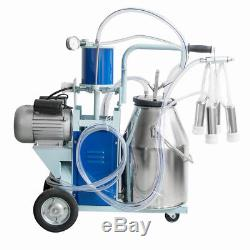 Portable Electric Milking Machine Milker Cows Stainless Steel With 25L Bucket 220V