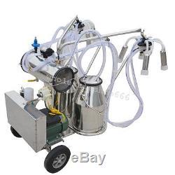 Portable Electric Vacuum Pump Milking Machine Milker Cow Double Tank Farm Cattle