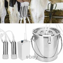 Practical Electric Milking Machine Stainless Steel Bucket Cows Milking US Plug