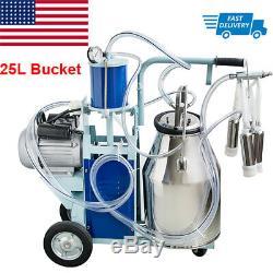 Pro Electric Milking Machine Milker Farm Cows 25L Stainless Steel Bucket 550W US
