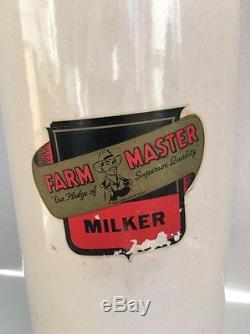 Rare Vintage Farm Master Milker Crock Farming Antique Milking Cows Great Detail