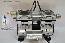 Regulated Twin Piston Oilless Vacuum Pump 4.5CFM 1/2 HP CowithGoat Milker Pulsator