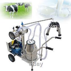 Single Tank Milker Electric Vacuum Pump Milking Machine +Wheels For Cows Cattles
