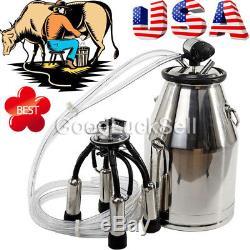 Stainless Milking Machine Portable Dairy Cow Milker Bucket Tank Barrel Cattle US