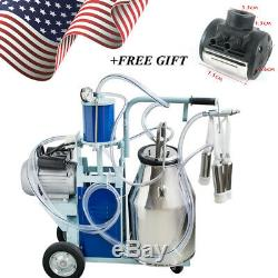 Stainless Steel Electric Milking Machine Milker Farm Goats Cows Bucket 25L+Gift