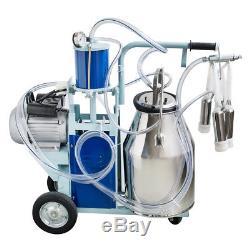 Super Electric Milking Machine For Cows +25L Bucket Vacuum Piston Pump Automatic