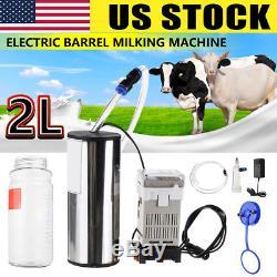 US 2L Electric Barrel Cows Sheep Milking Machine Vacuum Pump Milker Tank Tool