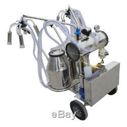 US Double Tank Electric Milker Milking Machine Vacuum Pump For Farm Cow 24cows/h