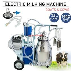 US Portable Electric Milking Machine Milker Cows Stainless Steel 25L WithBucket CE