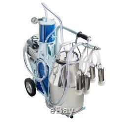 US SHIP Electric Milking Machine Milker For Cows 25L Bucket w Heavy Duty Wheel