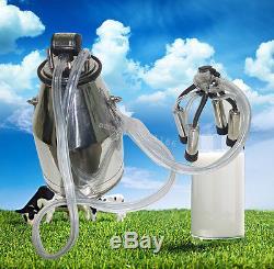 US Stock Portable Cow Milker Milking Bucket Tank Barrel 25L + Pneumatic Pulsator