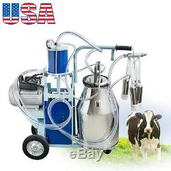 USA 25L Electric Milking Machine For Cows with Bucket 2 Plug 12Cows/h Milker FDA
