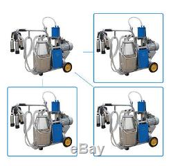 USA Electric Milking Machine Farm Cows 6.6Gal Stainless Steel Bucket 12Cows/hour