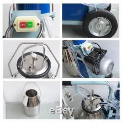 USA Electric Milking Machine Milker For Cows 25L Bucket w Heavy Duty Wheel