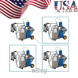 USA Electric Milking Machine Milker Vacuum For Farm Cows 25L Bucket Metal Best