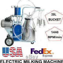 USA FDA Milker Electric Vacuum Pump Milking Machine Farm Cows Bucket 25L A+