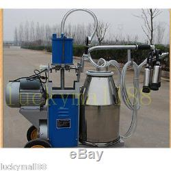 USA Portable Milker Electric Piston Vacuum Pump Milking Machine Farm Cows Bucket