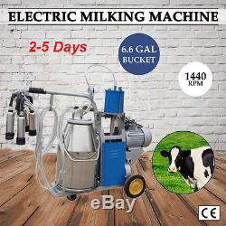 USA Stock Electric Cow Milking Machine Cattle Milker with 25L Bucket & Piston Pump