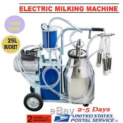 USAElectric Milking Machine For Farm Cows + Bucket Adjustable Vacuum Pump NEW