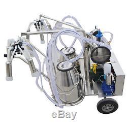 USElectric Milking Machine Double 25kg Tank/Bucket Milker Vacuum Pump Cow Milk