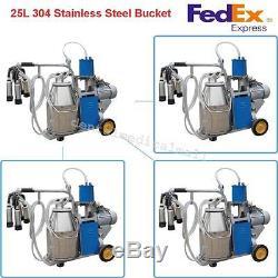 USPS Ship! Electric Milking Machine Piston Vacuum Pump For farm Cows +Bucket