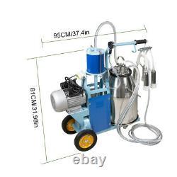Upgrde Portable Milker Electric Vacuum Pump Milking Machine 25L Bucket Farm Cows