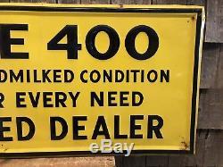 Vintage CONDE 400 Cow Milker Dairy Farm Dealer Tin Embossed Sign 49x19