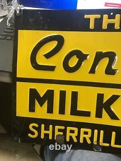 Vintage Conde Milker EMBOSSED METAL SIGN Milk Farm Cow Sherrill NY