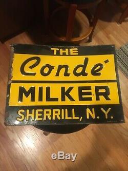 Vintage Conde Pipeline Milker EMBOSSED METAL SIGN Milk Farm Cow Sherrill NY