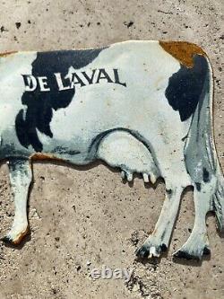 Vintage DeLaval Tin Sign Canada Milk Cow Dairy Cream Milker Farm Farmer Sweden