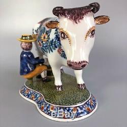 Vintage Royal Tichelaar Makkum Delft Polychrome Cow Milker (Large)