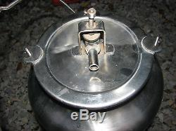 Vintage stainless dairy cow goat milk surge can bucket NICE milker parts LOOK
