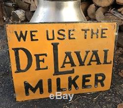 We Use The DeLaval Milker Cow Dairy Old Antique Advertising Embossed Sign