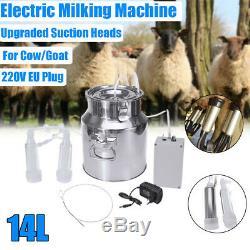 14l Double Tête Électrique Pompe À Vide Machine Traire En Acier Inoxydable Vache Milker