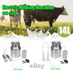 14l Double Tête Ferme Vache Machine Traire Ovin Caprin Trayeur Barils Portable