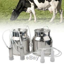 14l Double Tête Machine À Vide Impulse Traire Pompe Vache Milker Upgraded Us Plug