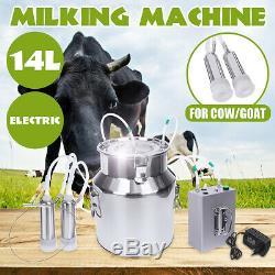14l Double Upgraded Tête Machine À Vide Impulse Traire Pompe Vache Chèvre Milker D
