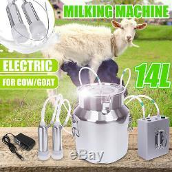 14l Électrique Machine À Vide Traire Impulse Pompe En Acier Inoxydable Vache Chèvre Milker
