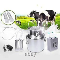 14l Upgraded Double Head Milking Machine Vacuum Impulse Pump Cow Goat Milker