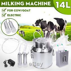 14l Upgraded Têtes Double Ferme Machine À Vide Traire Impulse Pompe Vache Chèvre Milker