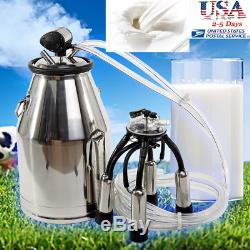 25l 304 Acier Inoxydable Vache Portable Milker Machine Seau Baril Traire Réservoir