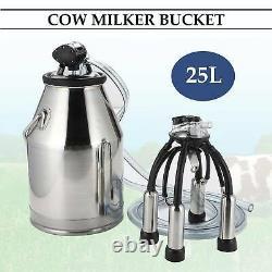 25l Dairy Portable Vache Seau Réservoir Baril Milker Trayeuse En Acier Inoxydable