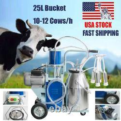 25l Electric Cow Goat Milking Machine Milker Vacuum Pump Bucket Acier Inoxydable